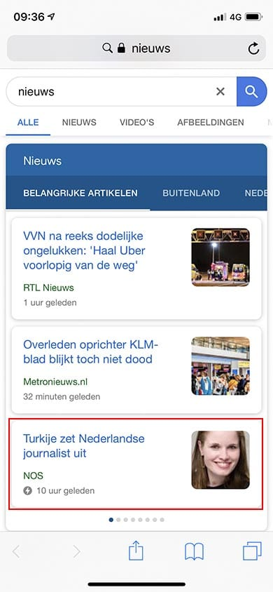 Voorbeeld Accelerated Mobile Pages SEO