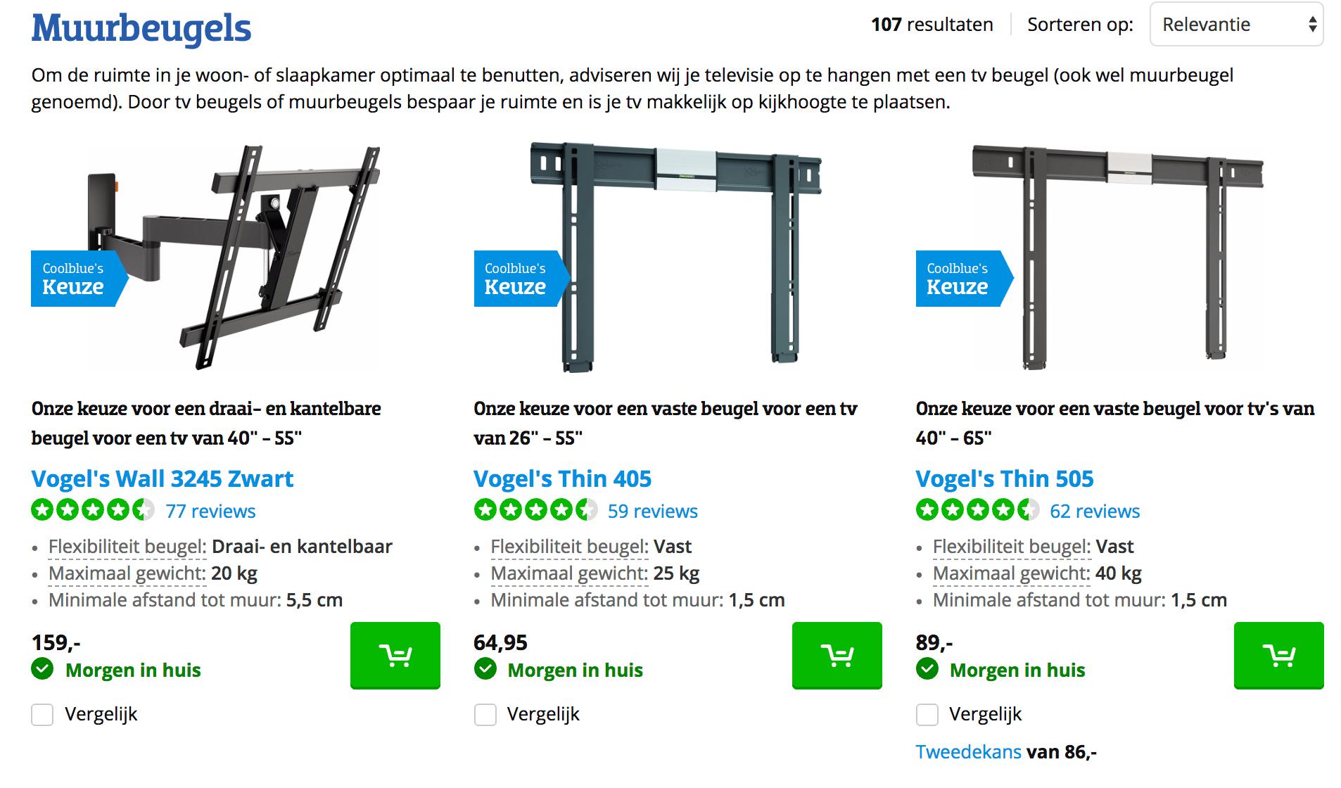 Coolblue - geen prijzen bij producten in webshop
