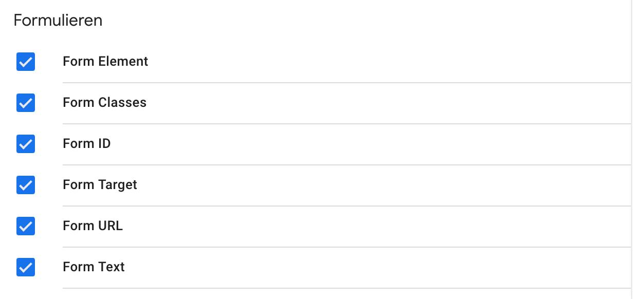 Google Tag Manager Formulieren variabelen